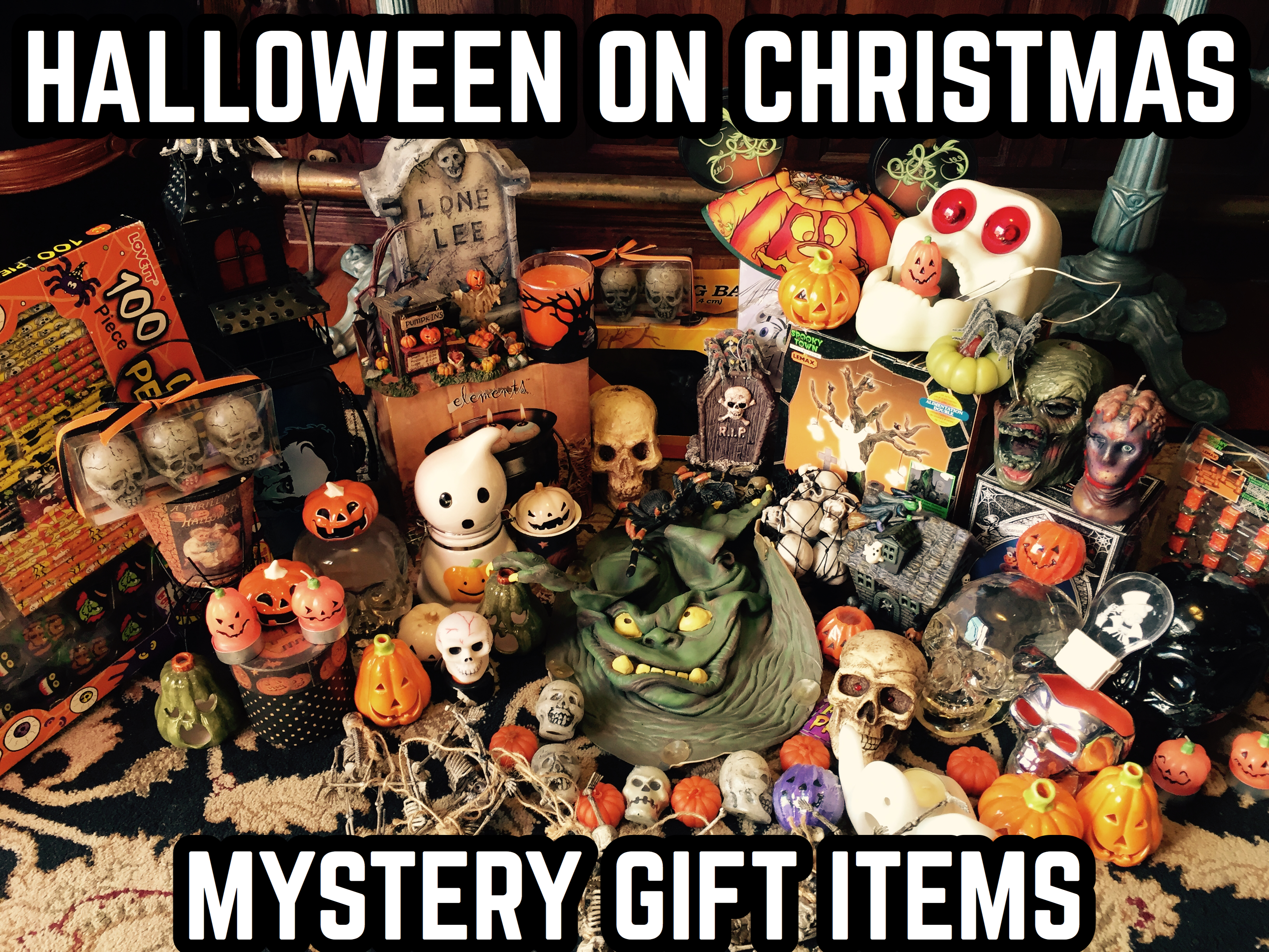 halloween on xmas holiday mystery gift box with signed print, tote